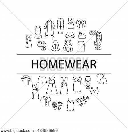 Comfortable Domestic Clothes Circle Layout With Text Headline. Homewear And Sleepwear. Comfy Garment