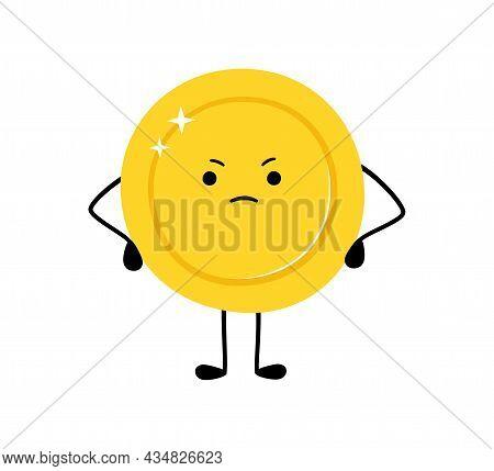 Cute Gold Coin. Sad Money Coin Character. Sad Winner. Vector Cartoon Illustration Isolated On White