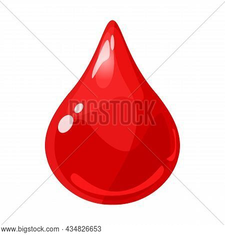 Drop Red Shiny Glossy Colorful Game Asset. Aqua, Jelly, Crystal, Glass Drip, Bubble Shot Elements. C