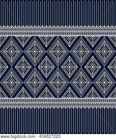 White Ethnic Or Tribal Seamless Pattern On Blue Background In Symmetry Rhombus Geometric Bohemian St