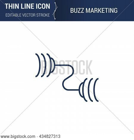 Symbol Of Buzz Marketing Thin Line Icon Of Advertising Media. Stroke Pictogram Graphic Suitable For