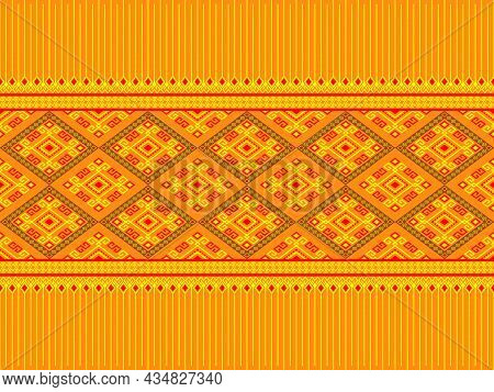 Yellow Red Ethnic Or Tribe Seamless Pattern On Yellow Background In Symmetry Rhombus Geometric Bohem