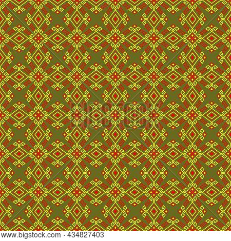 Yellow Red Tribal Or Native Seamless Pattern On Green Background In Symmetry Rhombus Geometric Bohem