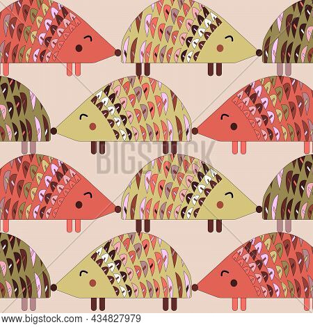 Pattern With Painted Colorful Hedgehog. Can Be Used For Wallpaper, Textiles, Packaging, Cards, Cover