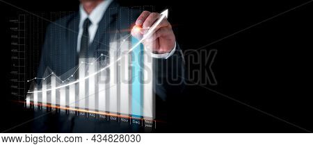 Businessman Drawing Graph Corporate Future Growth Plan. Business Development To Success. Financial C