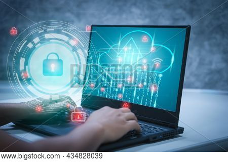 Businessmen Work From Home On A Computer With A Keyhole Icon For Personal Access Security Systems. T