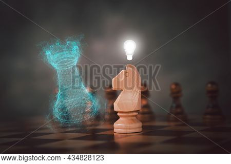 A Chessboard With Rook And Knight In The Foreground And Pawn In The Background, A Concept Of Strengt