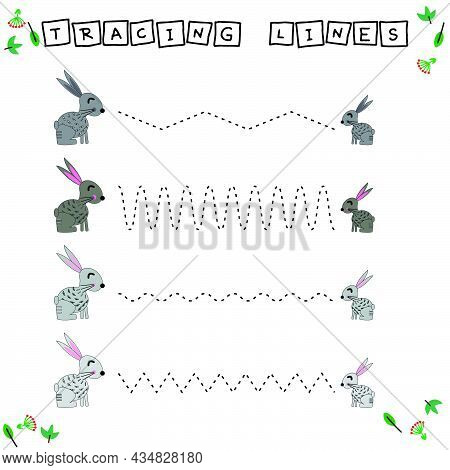 Tracing Lines Game With Funny Animals Rabbits. Worksheet For Preschool Kids, Kids Activity Sheet, Pr