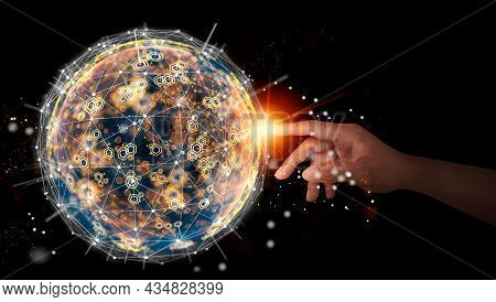 Businessman Touching Global Network And Data Exchanges Over. The Global Communication Concept. Abstr