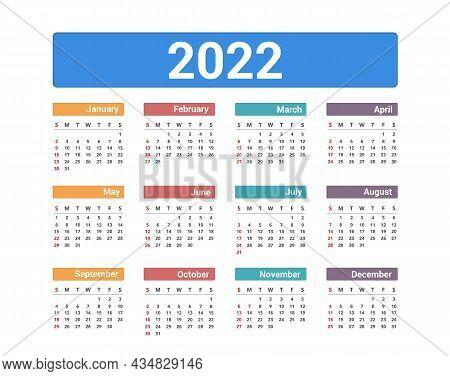 2022 Calendar, Week Starts On Sunday, Vector Eps10 Illustration