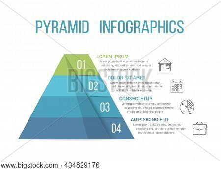 Pyramid With Four Segments, Infographic Template For Web, Business, Reports, Presentations, Etc, Vec