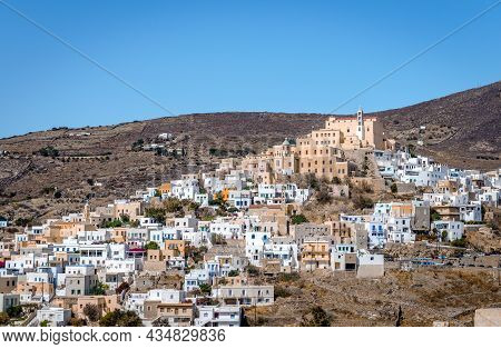 View Of Ano Syros, The Medieval Settlement Of Syros Island, With The Roman Catholic Church Of Saint