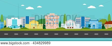 Vector Poster With City Buildings View With Road. City Street View.