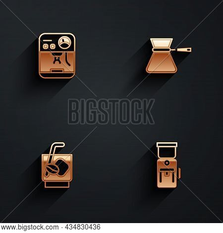 Set Coffee Machine, Turk, Espresso Tonic Coffee And Electric Grinder Icon With Long Shadow. Vector