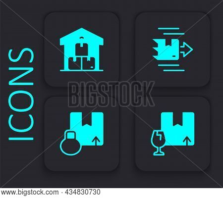 Set Package Box With Fragile Content, Full Warehouse, Carton Cardboard And Icon. Black Square Button