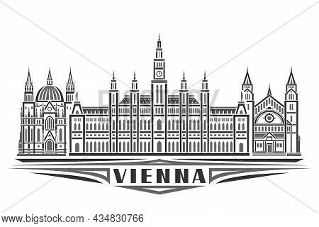 Vector Illustration Of Vienna, Monochrome Horizontal Poster With Linear Design Famous Vienna City Sc