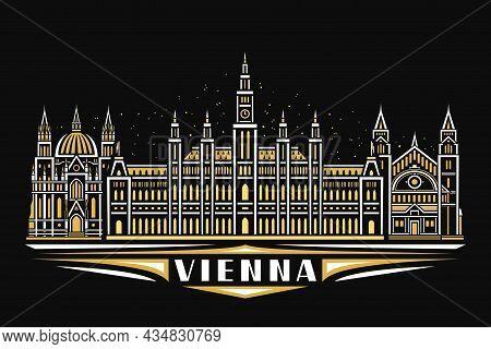 Vector Illustration Of Vienna, Black Horizontal Poster With Linear Design Illuminated Vienna City Sc