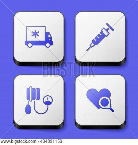 Set Ambulance Car, Syringe, Blood Pressure And Medical Heart Inspection Icon. White Square Button. V