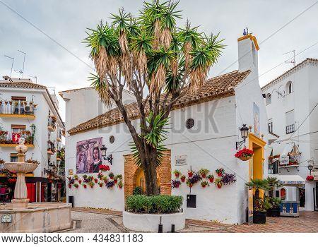 Marbella, Spain - December 21  2014: Ermita De Santiago, A Church In The Plaza De Los Naranjos In Th