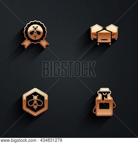Set Best Bee, Hive For Bees, Bee And Honeycomb And Jar Of Icon With Long Shadow. Vector