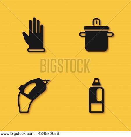 Set Rubber Gloves, Bottle For Detergent, Portable Vacuum Cleaner And Cooking Pot Icon With Long Shad