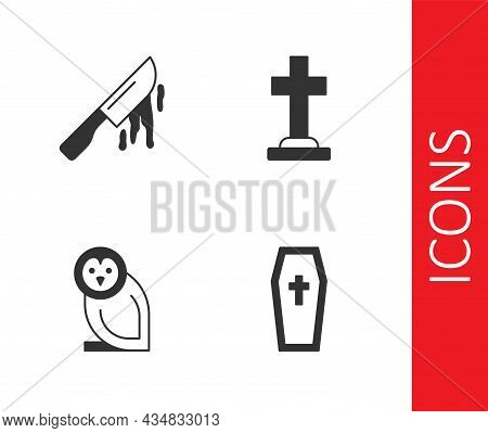 Set Coffin With Christian Cross, Bloody Knife, Owl Bird And Tombstone Icon. Vector