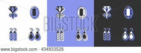 Set Earrings, Stud Earrings, And Gem Stone Icon. Vector