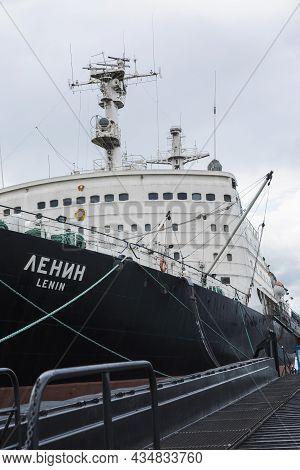 Icebreaker Lenin On The Dock. Close-up. Vertical. Murmansk, Russia, 08-31-2017.