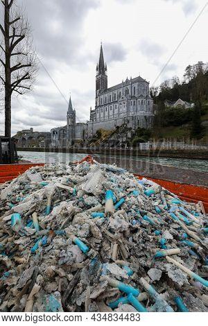 Lourdes France March 16, 20 Lourdes Sanctuary. Healing And Pilgrimage Center. Dump Of Used Sacrifici