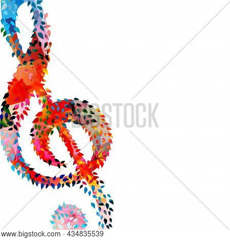 Colorful Musical Promotional Poster With G-clef Isolated Vector Illustration. Artistic Background Wi