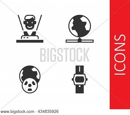 Set Wrist Watch, Hologram, Planet Earth And Radiation And Global Technology Icon. Vector