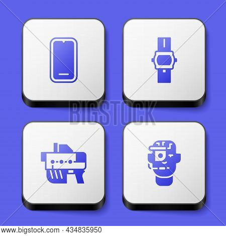 Set Mobile Phone, Wrist Watch, Futuristic Weapon And Smart Glasses Spectacles Icon. White Square But