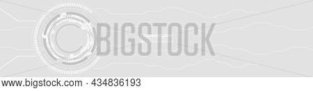 Abstract Digital Hud Gui Ui Technology Circuit Board Soft Grey Wide Banner. Gray Innovation Digital