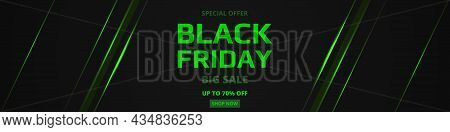 Black Friday Sale Promotion Wide Banner Template With Green Neon. Black Friday Neon Green Sale Banne