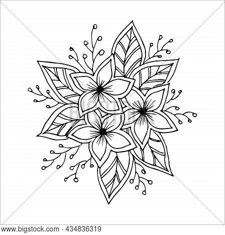 Delicate Flower Arrangement, Hand-drawn In Doodles Style, Vector Black And White Illustration