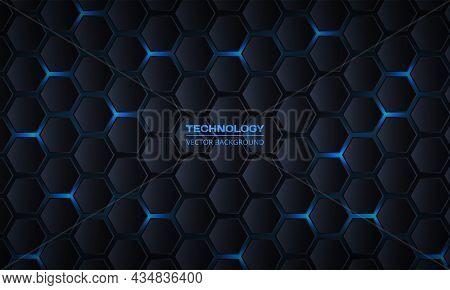 Dark Gray Hexagonal Technology Vector Abstract Background. Blue Bright Energy Flashes Under Hexagon