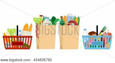 Grocery Food Basket. Eco Shopping Bags And Baskets With Food. Food Basket And Food Bags From The Sup