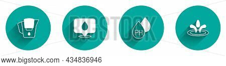 Set Water Jug With Filter, Drop Location, And Icon With Long Shadow. Vector