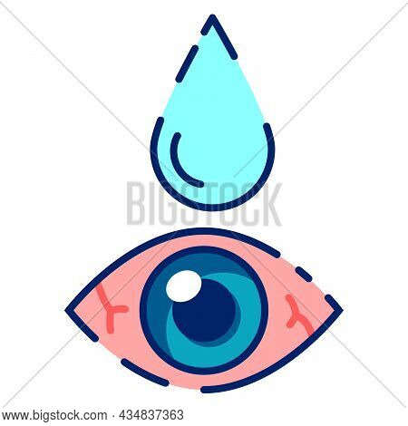 Dry Redness Eyes. Treatment.applying Eye Drop.suffering From Irritated Eye.