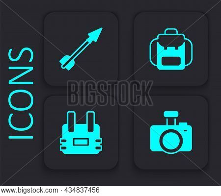 Set Photo Camera, Medieval Arrow, Hiking Backpack And Bulletproof Vest Icon. Black Square Button. Ve