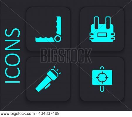 Set Target Sport, Trap Hunting, Bulletproof Vest And Flashlight Icon. Black Square Button. Vector