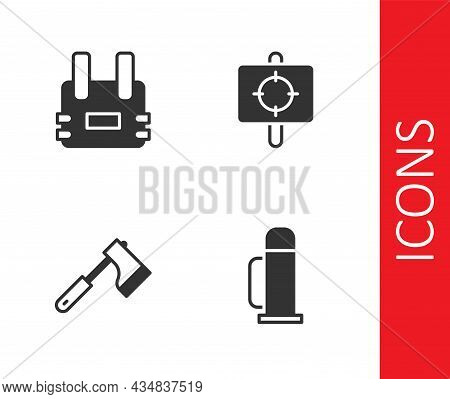 Set Thermos Container, Bulletproof Vest, Wooden Axe And Target Sport Icon. Vector