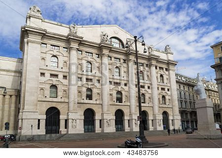 italian stock exchange in milan, Italy
