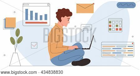 Man Involved In Software Or Web Development.young Freelancer Programmer Is Working On A Laptop.it Sp