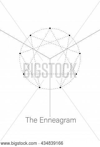 Enneagram Icon, Sacred Geometry, Diagram Logo Template, With Numbers From One To Nine Concerning The