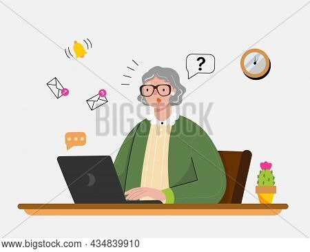 Puzzled Grandmother Sits At The Table And Reads Email On Her Laptop. Funny Character In A Flat Style