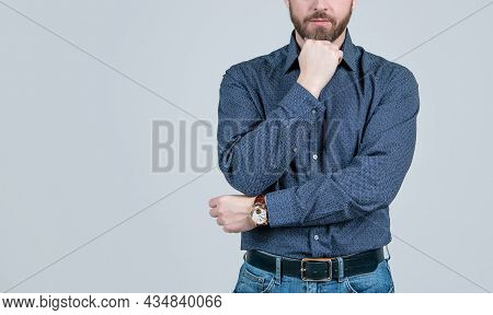 Man Cropped View Prop Unshaven Chin Wearing Elegant Shirt With Casual Jeans, Menswear, Copy Space