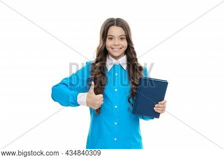 Approved Literature. Happy Kid Hold Book Giving Thumbs Up. Approved Book List. School Education