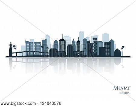 Miami Skyline Silhouette With Reflection. Landscape Miami, Florida. Vector Illustration.
