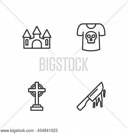 Set Line Bloody Knife, Tombstone With Cross, Castle And Shirt Skull Icon. Vector